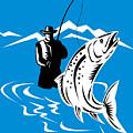 Fly Fisherman Catching Trout by Aloysius Patrimonio