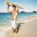 Man At The Beach With Surfboard by Brandon Tabiolo - Printscapes