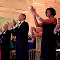 President And Michelle Obama Applaud by Everett