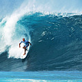 Pro Surfer Kelly Slater Surfing In The Pipeline Masters Contest by Paul Topp