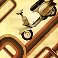 Retro Vespa Scooter by Michael Tompsett