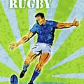 Rugby Player Kicking The Ball by Aloysius Patrimonio