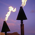 Waikiki, Tiki Torches by Carl Shaneff - Printscapes