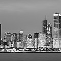 2010 Chicago Skyline Black And White by Donald Schwartz