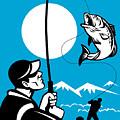 Largemouth Bass Fish And Fly Fisherman by Aloysius Patrimonio