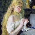 A Girl Crocheting by Pierre Auguste Renoir