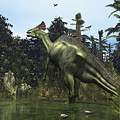 A Lambeosaurus Rears Onto Its Hind Legs by Walter Myers