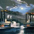 A Midnight Race On The Mississippi by Currier and Ives
