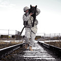 A Military Dog Handler Uses An by Stocktrek Images