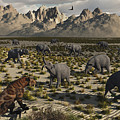 A Sabre-toothed Tiger Stalks A Herd by Mark Stevenson