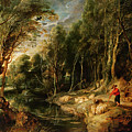 A Shepherd With His Flock In A Woody Landscape by Rubens