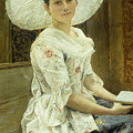A Young Beauty In A White Hat  by Franz Xaver Simm