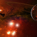 A Young Ringed Planet With Glowing Lava by Frieso Hoevelkamp