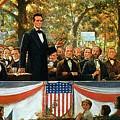 Abraham Lincoln And Stephen A Douglas Debating At Charleston by Robert Marshall Root