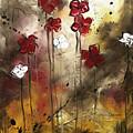 Abstract Art Original Flower Painting Floral Arrangement By Madart by Megan Duncanson