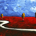 Abstract Art Original Landscape Painting Winding Road By Madart by Megan Duncanson