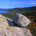 Acadia Bubble Rock Autumn by John Burk
