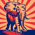 African Bull Elephant Charging Retro by Aloysius Patrimonio