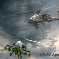 Ah-64 Apache Attack Helicopter In Flight by Randy Steele