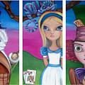 Alice In Wonderland Inspired Triptych by Jaz Higgins