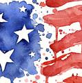 American Flag Watercolor Painting by Olga Shvartsur