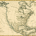 Antique Map Of North America by Guillaume Raynal
