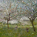 Apple Trees In Flower by Ernest Quost