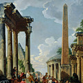 Architectural Capriccio With A Preacher In The Ruins by Giovanni Paolo Pannini or Panini