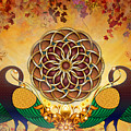 Autumn Serenade - Mandala Of The Two Peacocks by Bedros Awak