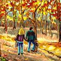 Autumn  Stroll On Mount Royal by Carole Spandau