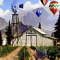 Balloons Over the Winery II Print by Ronald Chambers