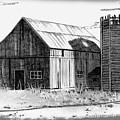 Barn And Silo Distressed Version by Joyce Geleynse