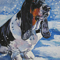 basset Hound in snow by Lee Ann Shepard