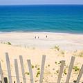 beach fence and ocean Cape Cod by Matt Suess