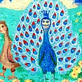 Bird People Peacock King And Peahen by Sushila Burgess