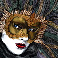 Black And Gold Carnival Mask by Patty Vicknair