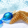 Blue Goggles On A White Towel  by Sandra Cunningham