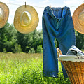Blue Jeans And Straw Hats On Clothesline by Sandra Cunningham