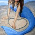 Blue Mermaid's Heart Print by Sue Halstenberg