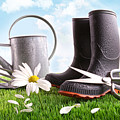 Boots With Watering Can And Daisy In Grass  by Sandra Cunningham