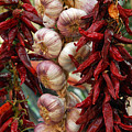 Braid Of Garlic Framed By Ristras by Anne Keiser