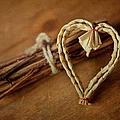 Braided Wicker Heart On Small Bundled Wood by Alexandre Fundone