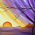 Brilliant Purple Golden Yellow Huge Abstract Surreal Tree Ocean Painting Royal Sunset By Madart by Megan Duncanson