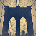 Brooklyn Bridge Blue by Naxart Studio