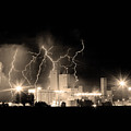 Budweiser Lightning Thunderstorm Moving Out Bw Sepia Crop by James BO  Insogna