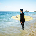 Business Man At The Beach With Surfboard by Brandon Tabiolo - Printscapes