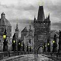 Bw Prague Charles Bridge 04 by Yuriy  Shevchuk
