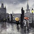 Bw Prague Charles Bridge 05 by Yuriy  Shevchuk