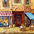 Cafe De Vieux Montreal With Couple by Carole Spandau