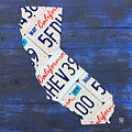 California License Plate Map On Blue by Design Turnpike